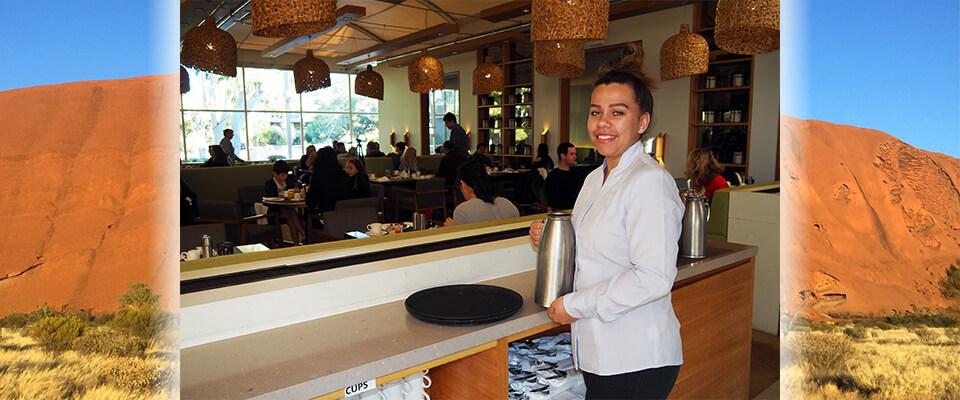 indigenous job seeker working at ayers rock resort restaurant