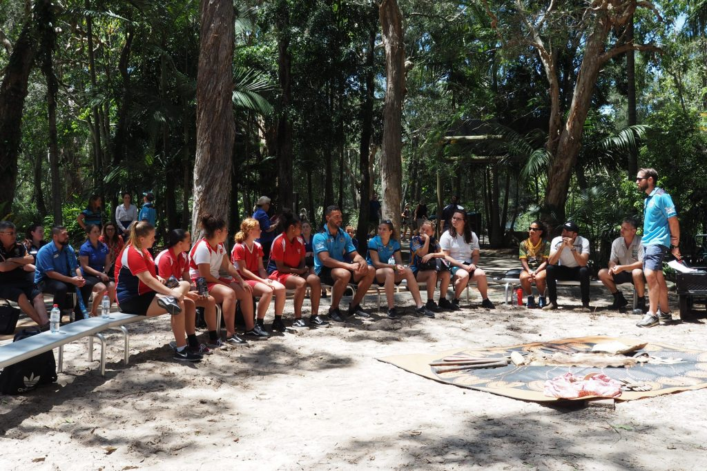 Gold Coast Titans Captain Ryan James  talking to program participants