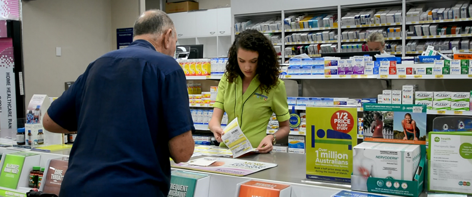 A person working in a pharmacy