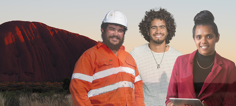 Aboriginal Job Seekers in front of Uluru