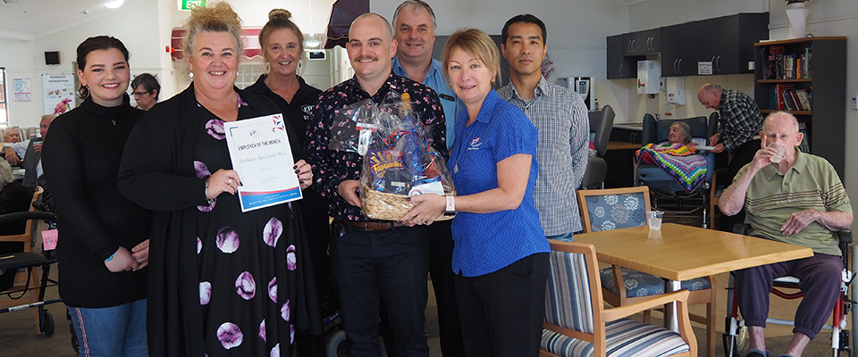 Bethany Aged Care being awarded their certificate and hamper