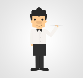 cartoon man dressed as waiter holding plate