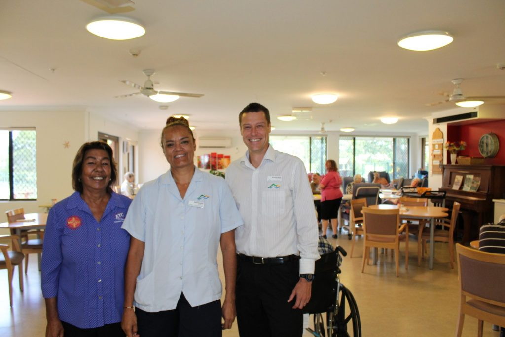 ETC aboriginal employment advior jennie rosser with her customer at a nursing home where she works