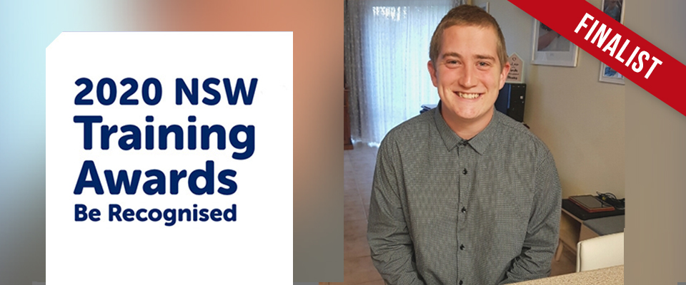Picture of Corey Warn the Trainee finalist for 2020 NSW Training Awards
