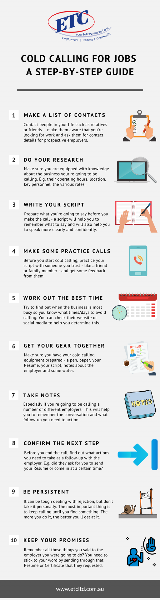 An infographic with tips on cold calling for jobs
