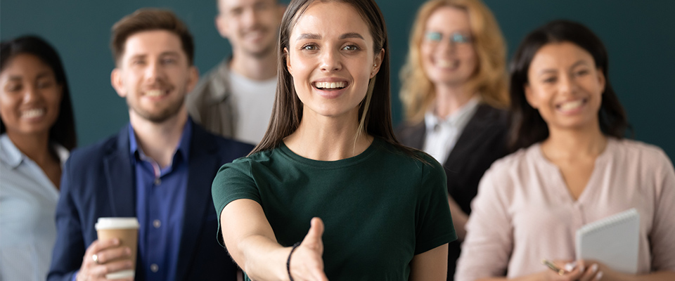 Group of people welcoming to new job