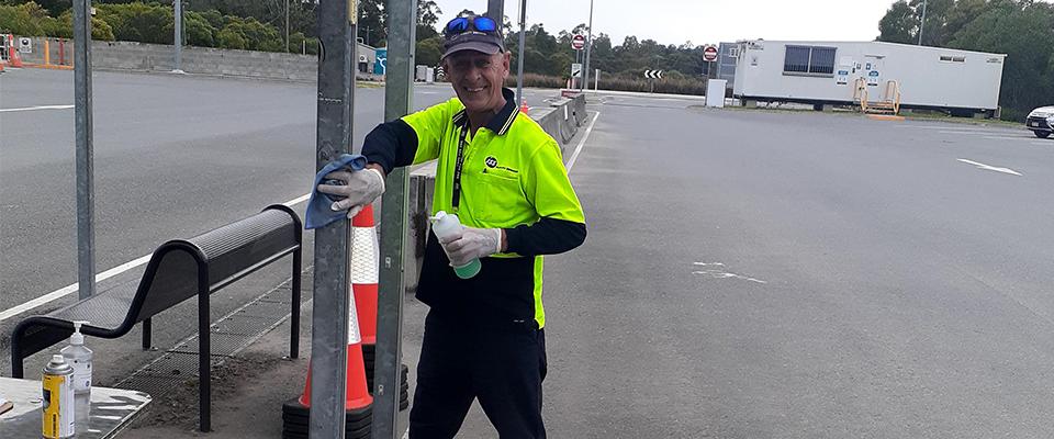 Homeless man warren cady working at his new job