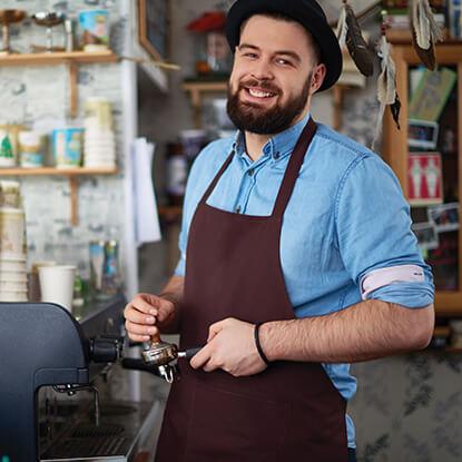 Barista man making coffee